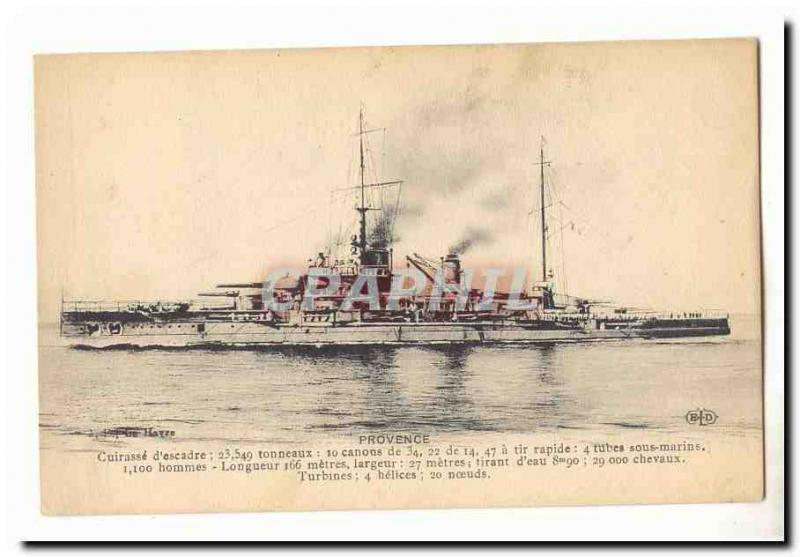Vintage Postcard Provence Armours squadron (ship boat boat)
