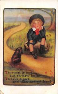 1039  Young Boy,  Dog,  and Poem  1910's
