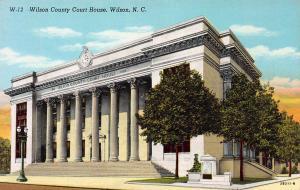 Wilson County Court House, Wilson, North Carolina, Early Linen Postcard, unused