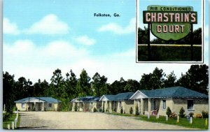Folkston, Georgia Postcard CHASTAIN'S COURT Route 1 Roadside Linen c1940s Unused