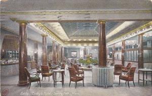 Massachusetts Springfield Cooley's Hotel Lobby 1909
