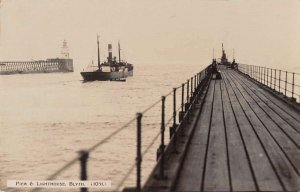Blyth Northumberland England view of Pier and Lighthouse real photo pc BB2706