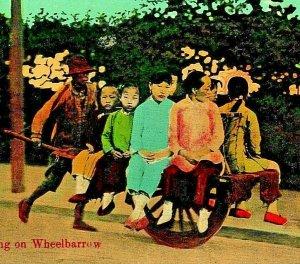 Shanghai China Riding on Wheelbarrow 1910s UNP Universal Postcard Co