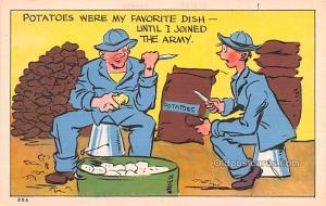 Military Comic Postcard, Old Vintage Antique Post Card Potatoes Unused