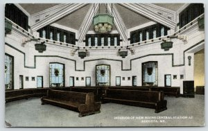 Augusta Maine~New Central Station Waiting Room~Passenger Railroad Depot~c1910
