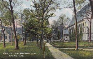 Wisconsin View Of College Grounds Racine Postcard