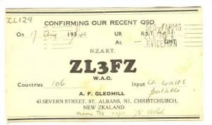 Confirming Our Recent QSO, Radio- ZL129, N.Z.A.R.T. ZL3FFZ W.A.C., Christchur...