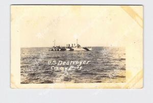 RPPC REAL PHOTO POSTCARD U.S. DESTROYER CONVOY DUTY CAMOUFLAGE