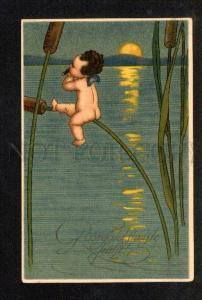 047884 Smoking Nude ELF in Moon Light Vintage Colorful PC