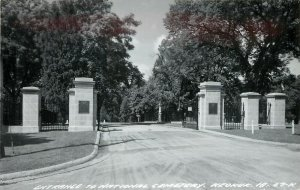 RPPC Postcard; National Cemetery Gates, Keokuk IA Lee County LL Cook 67-K
