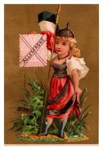 Allemagne  Stamp, Flag, Girl   Victorian Philatelic Trade Card
