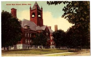 1910 SALEM Ohio Postcard High School Columbiana Lisbon