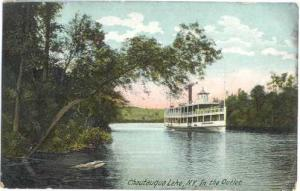 Steamer on Chautauqua Lake, NY, New York State, 1907 Divided Back