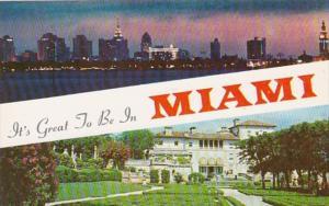 Florida Miami Skyline At Night and James Deering Estate