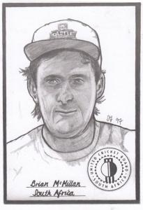 Brian McMillan South Africa Cricket Artist Drawing Limited Edn of 500 Postcard