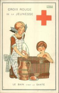 Belgian Red Cross - Children in Bath Maggie Salzedo Poster Art Postcard