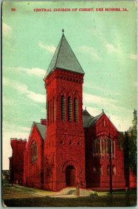 1908 Des Moines, Iowa Postcard CENTRAL CHURCH OF CHRIST Building / Street View