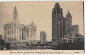 Wrigley, Tribune and Medinah Buildings, Chicago - 1933 World Fair Postcard