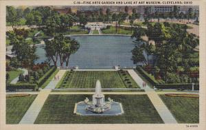 Ohio Cleveland Fine Arts Garden and Lake At Art Museum Curteich