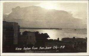 San Juan Puerto Rico Harbor Bldgs Sunset c1915 Real Photo Postcard