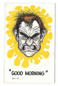 Laff O Gram Comic Postcard Good Morning Vintage 1966 Scary Face