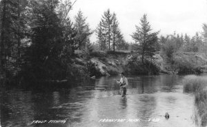 RPPC Trout Fishing, Frankfort, Michigan Fisherman c1940s Vintage Postcard