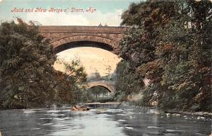 Scotland, UK Old Vintage Antique Post Card Auld and New Brigs o'Doon Ayr...