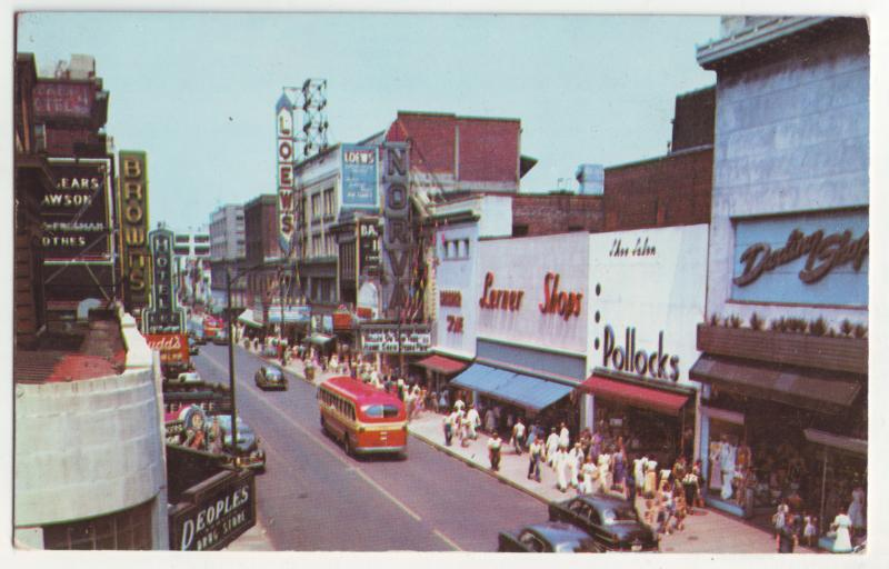P735 vintade granby st cars buses many store signs etc norfolk virginia
