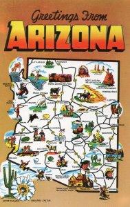 10633 Greetings from Arizona Map 1954