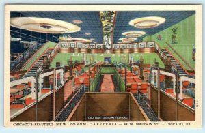 CHICAGO, Illinois IL  Interior FORUM CAFETERIA ca 1940s Linen Roadside  Postcard