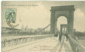 Avignon, Perspective du Pont Suspendu, 1908 used Postcard