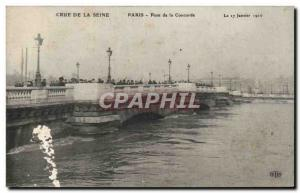 Old Postcard Paris Crue of the Seine January 1910 Flood of Pont de la Concorde