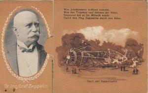 German Blimp Graf Zeppelin 00-10s ; Novelty Bi-fold Postcard