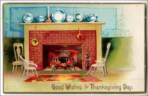Thanksgiving, Fire Place   Artist: Ellen H Clapsaddle