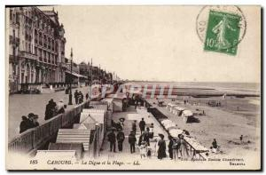 Old Postcard Cabourg Beach and La Digue