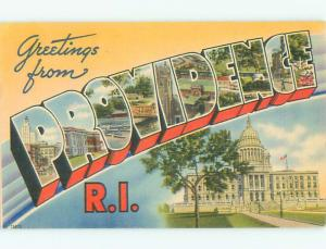Linen BIG LARGE LETTERS Providence Rhode Island RI Q2832