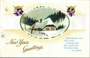 Christmas New Year Greeting - WINTER SCENE - VINTAGE - ANTIQUE POSTED