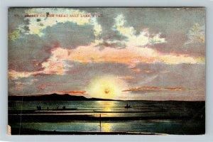 Colorful Sunset On The Great Salt Lake, Scenic View, UT-Utah Vintage Postcard