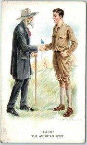 Vintage WWI Artist-Signed ARCHIE GUNN Postcard THE AMERICAN SPIRIT 1918 Cancel
