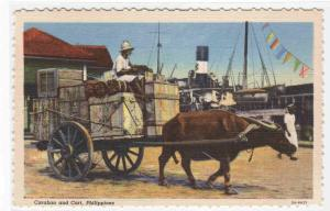 Carabao Water Buffalo Cart The Philippines linen postcard