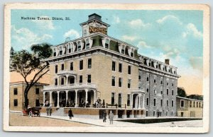 Dixon Illinois~Nachusa Tavern~People on Porch-Sidewalk~Vintage Car~1923 Postcard