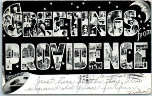 1907 GREETINGS FROM PROVIDENCE Rhode Island Large Letter Postcard Girls' Faces