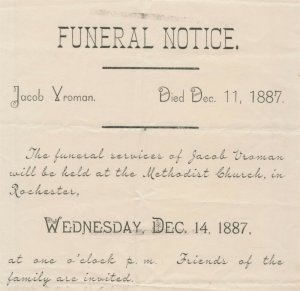 Funeral Notice For Jacob Vroman Died December 11 1887 Rochester Minnesota