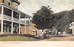F9/ Roscoe New York Postcard 1912 Stewart Avenue House Hotel Wagon