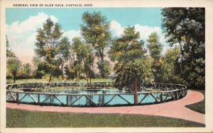 CASTALIA OHIO~BLUE HOLE WINTER & SUMMER VIEW-LOT OF 2 POSTCARDS