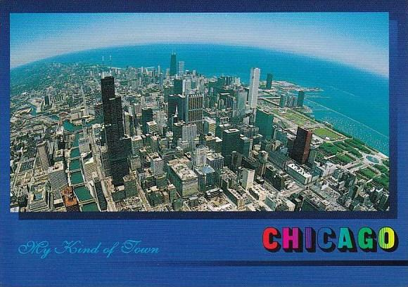 Illinois Chicago Birds Eye Aerial Of Chicago