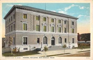 San Angelo Texas Federal Bldg Street View Antique Postcard K104064
