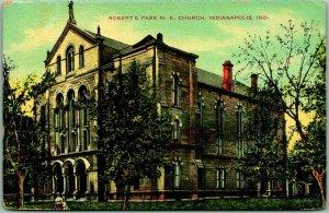 Indianapolis, Indiana Postcard ROBERT'S PARK M.E. CHURCH Building View c1910s