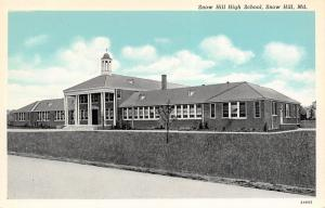 Snow Hill Maryland~High School~1932 Blue Sky Postcard