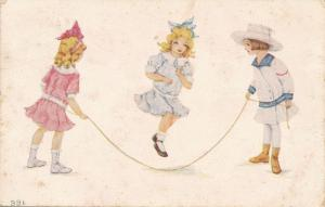Children Playing Greetings - Girls Jumping Rope - F. A. Owen Co. - DB